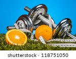 Fitness Theme With Fruits  Blu...