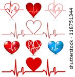 set hearts beats graph. vector... | Shutterstock .eps vector #118751344