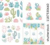 cactus design kit. sketchy... | Shutterstock .eps vector #1187530660