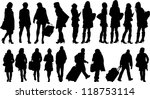 Set Of 19 Silhouettes Of Peopl...