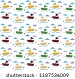 boat and sea pattern background | Shutterstock .eps vector #1187536009