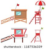 set of lifeguard house and... | Shutterstock .eps vector #1187536339