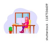 muslim woman remote worker ... | Shutterstock .eps vector #1187536609