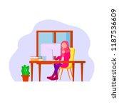 muslim woman remote worker ... | Shutterstock .eps vector #1187536609