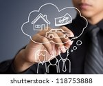 Businessman drawing dream house in a whiteboard - stock photo