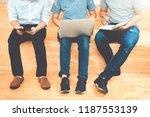 university students using... | Shutterstock . vector #1187553139