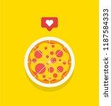 pizza love. social pizza.... | Shutterstock .eps vector #1187584333
