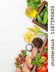 fresh garden tomatoes ... | Shutterstock . vector #1187590603