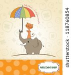 baby shower card with funny... | Shutterstock .eps vector #118760854