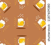frosty glass of beer set...   Shutterstock .eps vector #1187609380