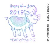 2019 zodiac pig. happy new year ... | Shutterstock .eps vector #1187610310
