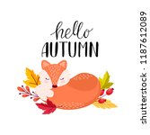 vector autumn card with with a... | Shutterstock .eps vector #1187612089