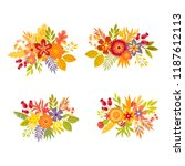 set of hand drawn bouquets.... | Shutterstock .eps vector #1187612113