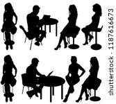 set ilhouette girl sitting on a ... | Shutterstock .eps vector #1187616673
