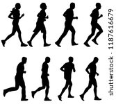 set of silhouettes. runners on... | Shutterstock .eps vector #1187616679