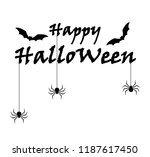 happy halloween text banner and ... | Shutterstock .eps vector #1187617450