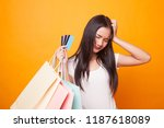 unhappy  young asian woman with ... | Shutterstock . vector #1187618089
