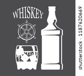bottle of whiskey and a glass ... | Shutterstock .eps vector #1187620669