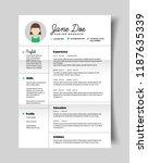 resume cv template for women in ... | Shutterstock .eps vector #1187635339