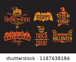 orange halloween typography ... | Shutterstock .eps vector #1187638186
