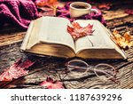 cup of coffee old  book ... | Shutterstock . vector #1187639296