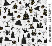 halloween holiday seamless... | Shutterstock .eps vector #1187639449