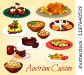 austrian cuisine dishes with... | Shutterstock .eps vector #1187640529
