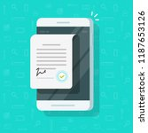 contract document on smartphone ... | Shutterstock .eps vector #1187653126