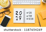 2019 new year goal plan action... | Shutterstock . vector #1187654269