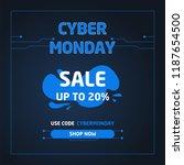 cyber monday sale banner.... | Shutterstock .eps vector #1187654500