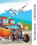 the hot rod and the flying... | Shutterstock . vector #118765618