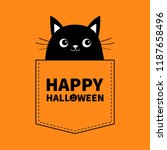 happy halloween. black cat in... | Shutterstock .eps vector #1187658496
