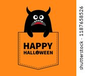 happy halloween. black monster... | Shutterstock .eps vector #1187658526