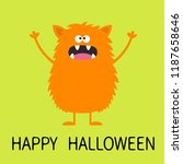 happy halloween. cute orange... | Shutterstock .eps vector #1187658646