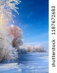 winter landscape with frozen... | Shutterstock . vector #1187672683