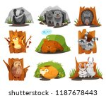 cute animals sitting in burrows ... | Shutterstock .eps vector #1187678443
