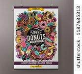 donuts doodles poster design.... | Shutterstock .eps vector #1187685313