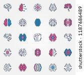 digital brain colored icons set ... | Shutterstock .eps vector #1187686489
