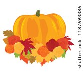 pumpkin with autumn leafs and... | Shutterstock .eps vector #1187693386