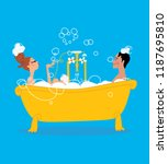 man and woman taking  a bath in ... | Shutterstock .eps vector #1187695810