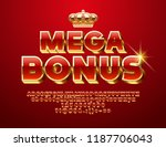 Stock vector vector glossy sign mega bonus chic d font luxury red and golden alphabet letters numbers and 1187706043