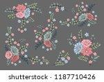 vector rose set. colorful... | Shutterstock .eps vector #1187710426