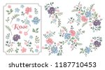 Stock vector vector rose set colorful floral collection with leaves and flowers design for invitation wedding 1187710453