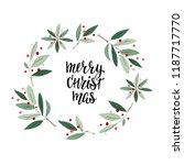 merry christmas wreath flower... | Shutterstock .eps vector #1187717770