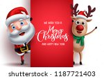 santa claus and reindeer vector ... | Shutterstock .eps vector #1187721403