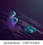 vr headset concept. boy and cat ... | Shutterstock .eps vector #1187741053