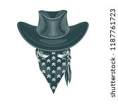 skull cowboy in a mask.... | Shutterstock .eps vector #1187761723