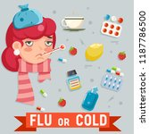 female cold flu disease illness ... | Shutterstock .eps vector #1187786500