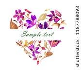 heart of watercolor clematis.... | Shutterstock . vector #1187788093