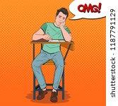 pop art exhausted student... | Shutterstock .eps vector #1187791129